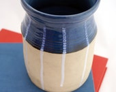 Ceramic canister stoneware in blue and white - uk hand thrown pottery