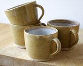 Handmade pottery mugs set of four - woodland frog mugs glazed in pepper yellow