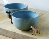 Set of two stoneware pottery cereal bowls - wheel thrown and glazed in smokey blue
