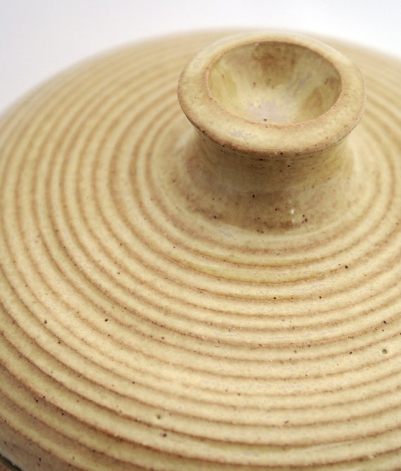 Hand thrown casserole cooking pot glazed in yellow pepper - stoneware pottery