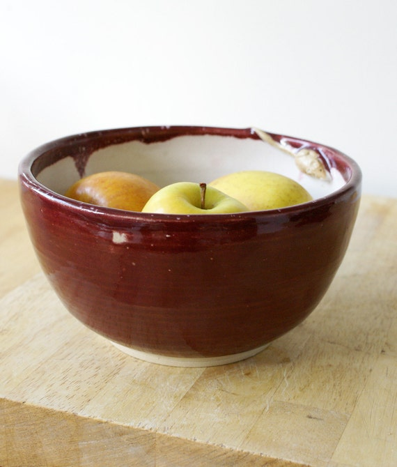 Ruby red ceramic fruit bowl with tiny hand carved mouse - wheel thrown pottery