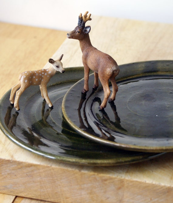 Pottery Plates Hand Thrown Set Of Two Glazed In Rich Forest