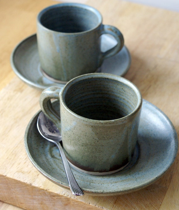 Pottery espresso cups and saucers - a handmade set of two in smokey blue