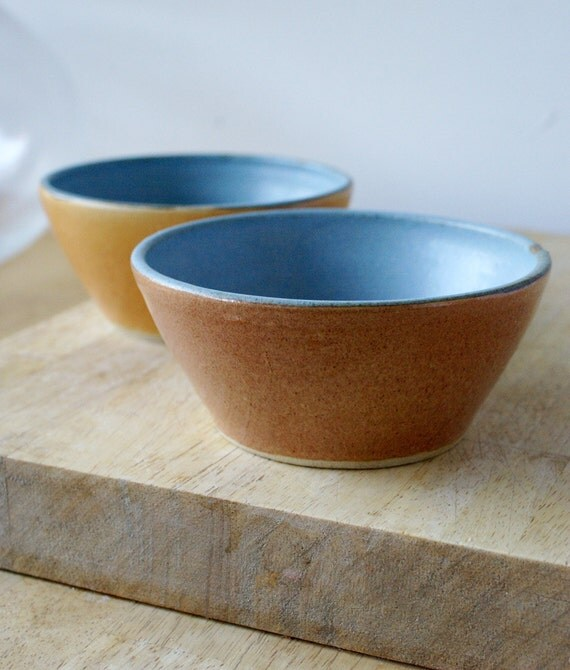 Two pumpkin orange and blue bowls - hand thrown pottery dish