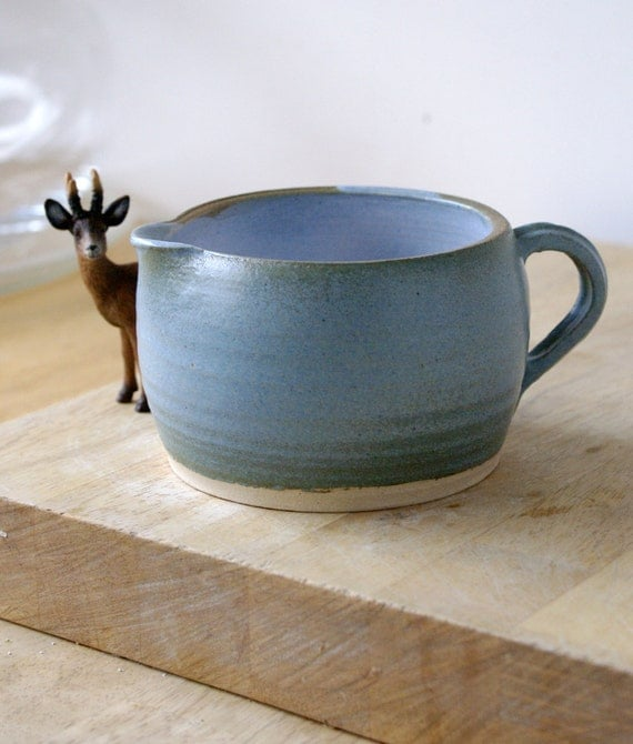 Speckled blue pottery pouring jug - handmade stoneware pitcher