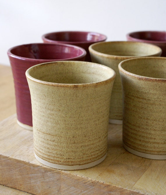 For dudenotbird - set of six handmade pottery cups in red and natural brown