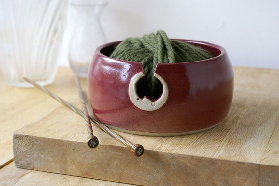 SALE - The sun and moon hand thrown pottery yarn bowl - glazed in ruby red