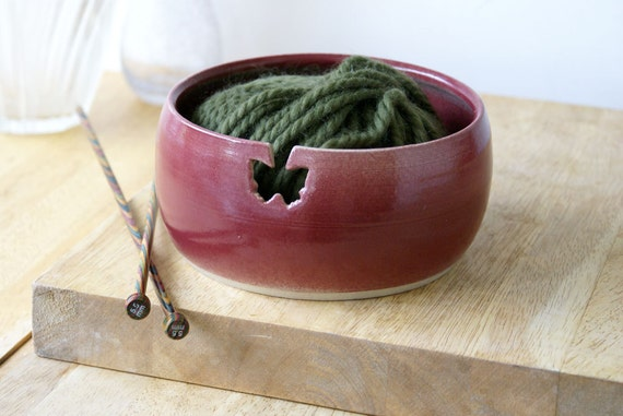 SALE - The butterfly yarn bowl, hand thrown pottery yarn bowl in ruby red