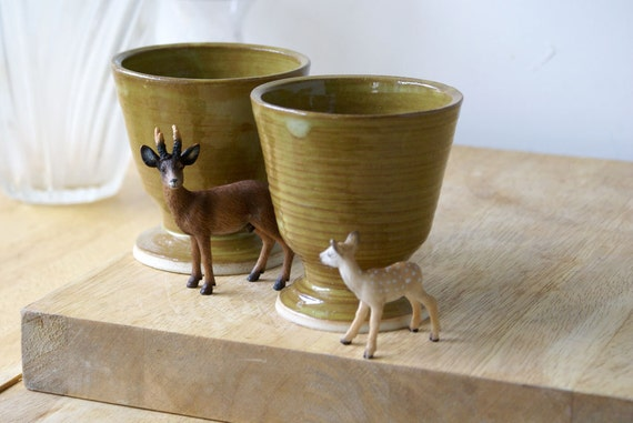 Set of two stoneware pottery goblets - glazed in lichen green