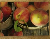 Photo - Baskets of Niagara Region Ontario Peaches  - Photo Print Postcard - Food Photography