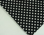 Vintage white polka dots on black cotton fabric 4 yards