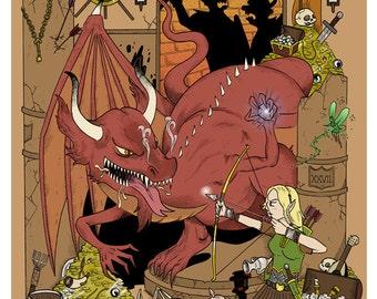 Arienette vs. the Dragon LARGE Poster/Print