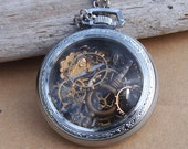 Steampunk Pocket Watch 10K GP Jesus Pendant Religious Antique
