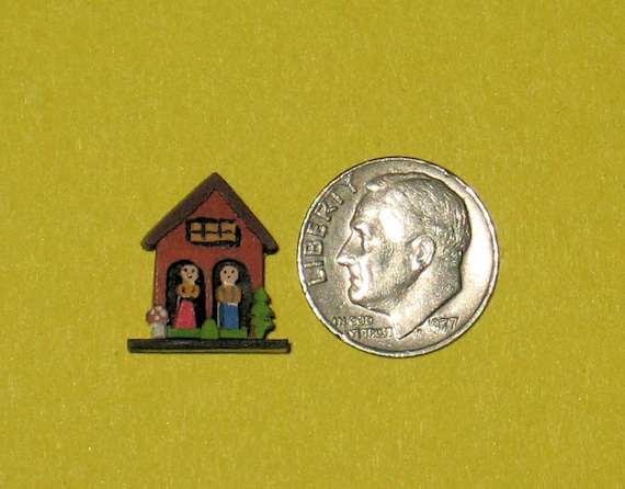 Tiny Weather House Smaller than a Dime - 1/12th scale