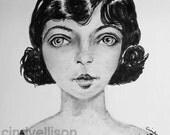 Priscilla Portrait Shy Girl Watercolor Print