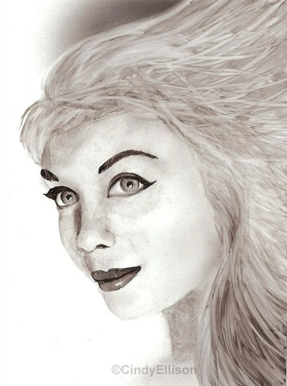 Goddess Athena Sepia Toned Portrait Print