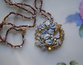 SILK BEADED CROCHETED NECKLACE with  LARGE VINTAGE upcycled PENDANT