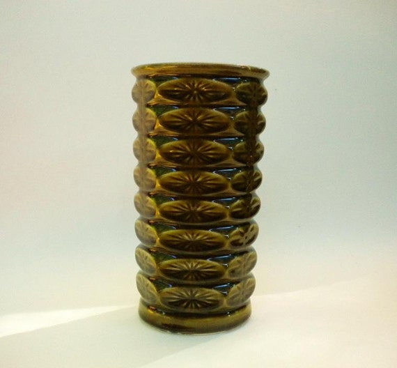 Large Mid Century Pottery Vase in Avocado Green Made in USA