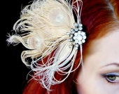 Vintage Art Deco Headpiece - Rhinestone Peacock Feather Fascinator - Ivory Feather Clip