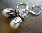 Vintage Mother of Pearl Silver Earrings - Rhinestone Alabaster Glass