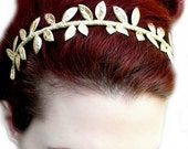 Gold Greek Goddess Headband - Golden Grecian Leaf Crown