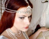 Art Deco Rhinestone Headpiece - Vintage Weiss Eisenberg Headdress - Crystal Headpiece - Rose of the Mire