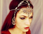 25% OFF Art Deco Flapper Headpiece - Vamp Vintage Rhinestone Headdress - Exotic Silver Burlesque Medieval Gypsy