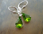 Vintage Green Rhinestone Earrings - Silver Dangles