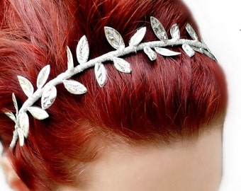 Grecian Goddess Headband - Silver Leaf Headpiece - Greek Goddess Crown