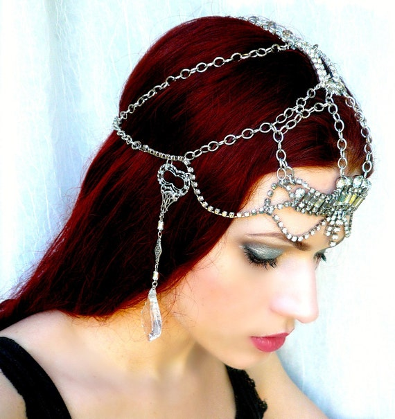the Charm of Making - One of a Kind Vintage Rhinestone Crystal Headpiece - the Original Style from Rose of the Mire