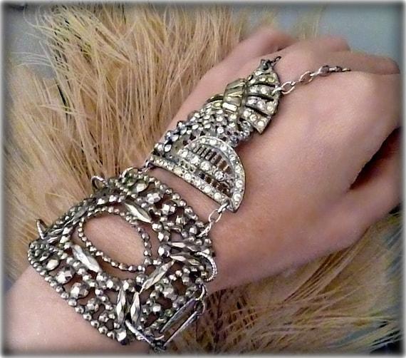 Art Deco Vintage Rhinestone Flapper Slave Bracelet