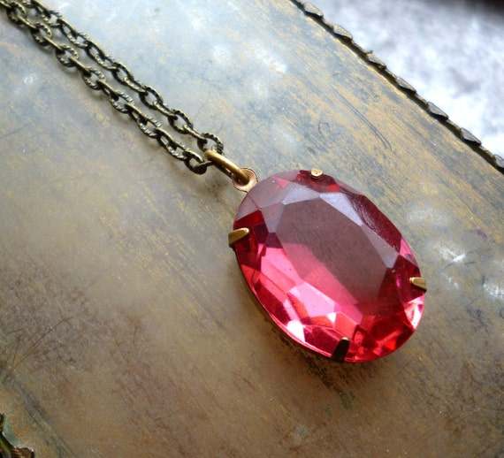 Vintage Pink Rhinestone Pendant Jewel Necklace with Aged Brass