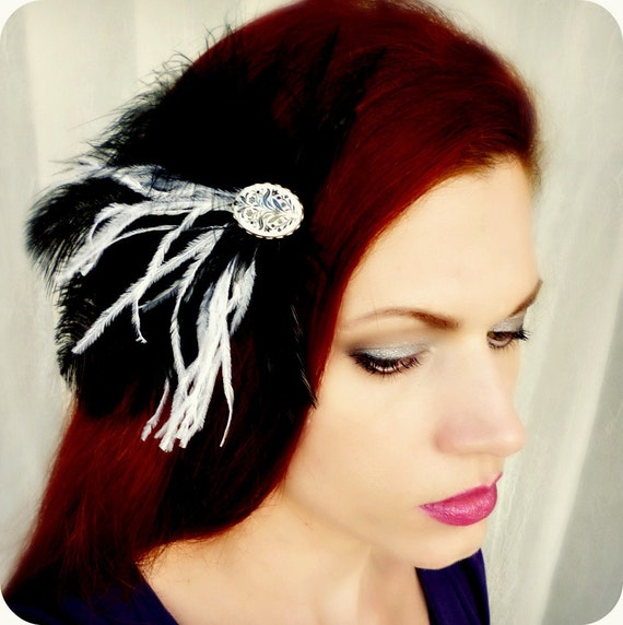 Holiday Sale 10% Off Victorian Vintage Cameo Feather Headpiece - White Black