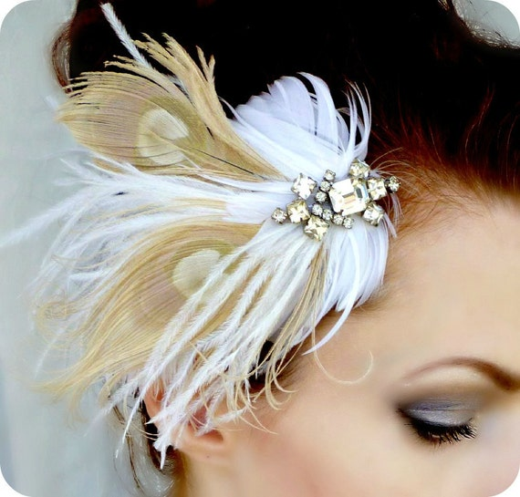 20% Off Sale Ivory White Feather Headpiece Vintage Art Deco Rhinestone Hair Clip