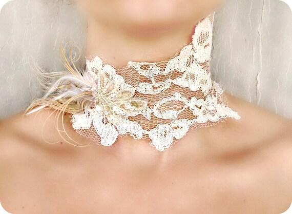 30% OFF Ivory Lace Choker - Victorian Choker - Peacock Feather Beaded Choker - Bridal, Wedding, Prom