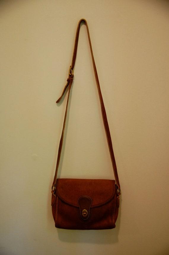 Vintage Leather Coach Purse, Deep Camel Brown