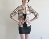 lightweight 1960 grid jacket . motorcycle preppy .small .sale