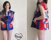 panda bear relief worker vest . psychedelic patchwork quilt jacket .large.extra large.xl .sale