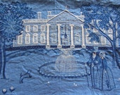 embroidered colonial pillow cover . white house needlepoint in blue .sale