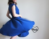 sapphire blue swing dress . electric cobalt frock .large.extra large.xl