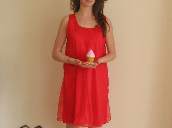 japan aid. mod valley of the dolls sheer neon red boudoir nightie (day wear) .medium.large