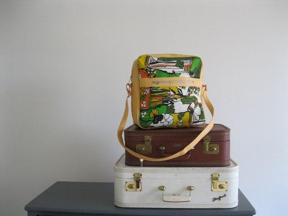 1970 partridge family luggage travel tote .medium.large shoulder bag size .sale