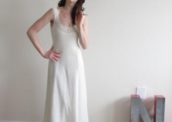 r e s e r v e d St. John knit wedding dress . 1970 crochet floor length gown .small.medium .sale