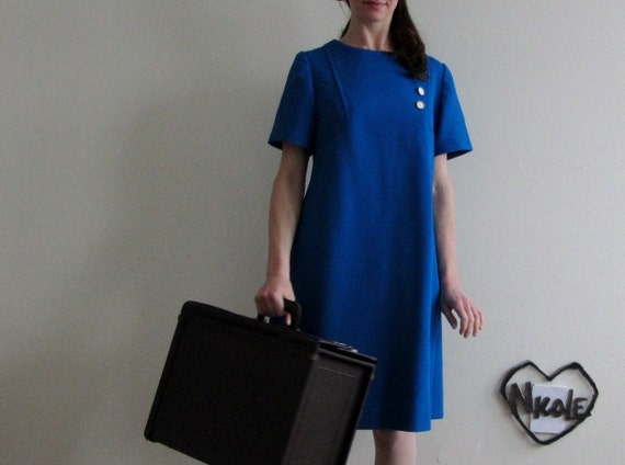 bright blue mod scooter dress . fly the friendly skies flight attendant .medium.large .sale
