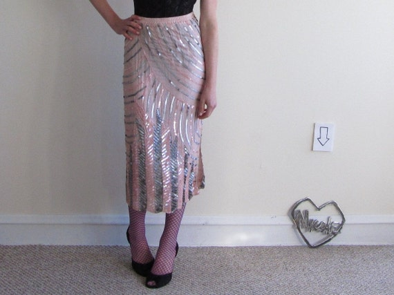 art deco sequin silk skirt . pink gunmetal new years eve party .medium.large .sale