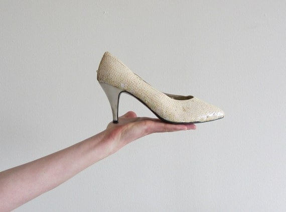 r e s e r v e d unicorn approved sequin heels . iridescent  bridal shoe .size 8.5 .sale
