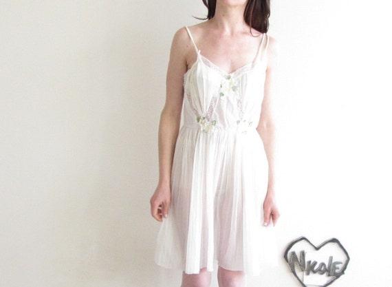 1940 daisy summer slip dress . cream of the crop .small.medium