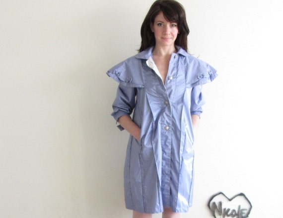 petit frenchie raincoat with BOWS . periwinkle lavender .extra small xs .sale