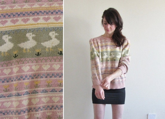 ducklings and hearts in a row sweater of dreams .medium.large .sale