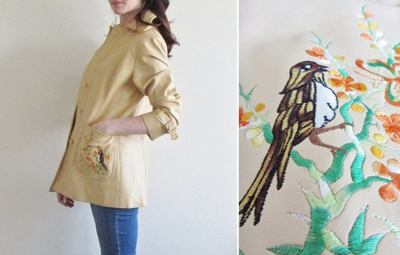 disaster relief. 1970 vinyl BIRD jacket . tan spring blossom coat .medium .sale
